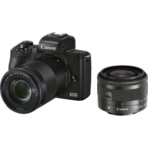 EOS M50 Mark II Mirrorless con lentes EF-M 15-45mm y EF-M 55-200mm