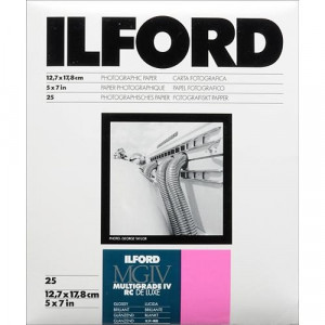 PAPEL 5X7 MULTIGRADO BRILLANTE 25 HOJAS - 019498769887 -Ilford Multigrade IV RC Deluxe